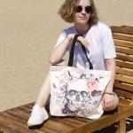 Stilingas krepšys 'Gėlėta kaukolė' 1