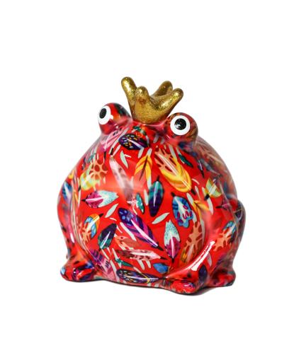 Didelė spalvota keramikinė taupyklė varlytė Fredis