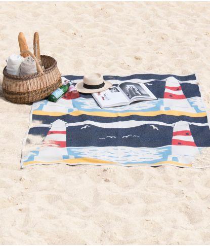 Medvilninis vasariškas paplūdimio pledas su švyturiu 1