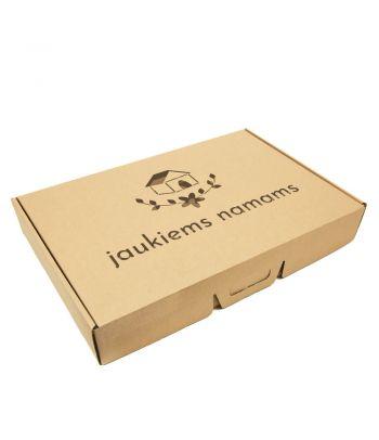 Personalizuota gofro kartono dėžutė su rankenėle įkurtuvių proga