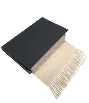 Smėlio spalvos juostuotas alpaka vilnos šalikas
