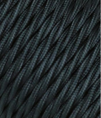 Pintas trigyslis tekstilinis kabelis, juodas, 3 x 0,75 mm²