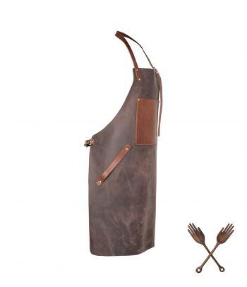 Natūrali odinė BBQ prijuostė su kišene
