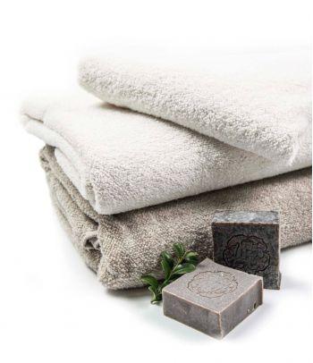 Švelnus baltas minkštinto lino rankšluostis