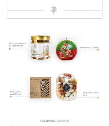 Dovanų rinkinys medaus skanėstas su šaltalankiais ir mediniai padėkliukai