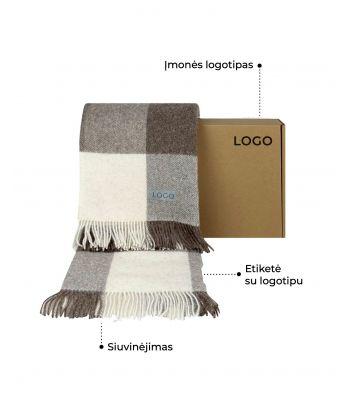 Personalizuotas languotas vilnonis pledas Scandimama '17 su dovanų dėžute