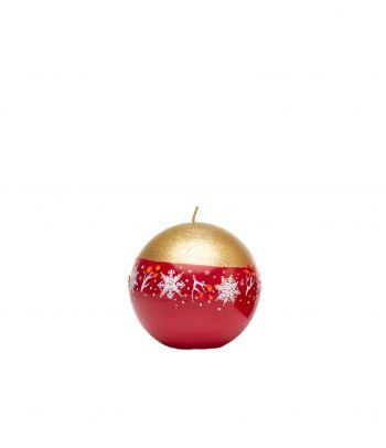 Apvali dekoruota Kalėdinė rankų darbo žvakė