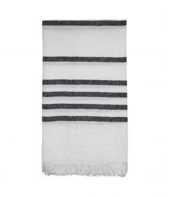 Lininis rankšluostis - paplūdimio pledas Island black stripes