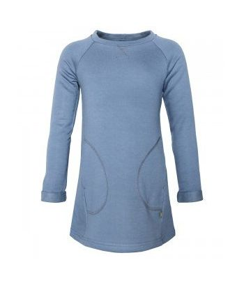 Mėlyna suknelė margaitėms ilgomis rankovėmis