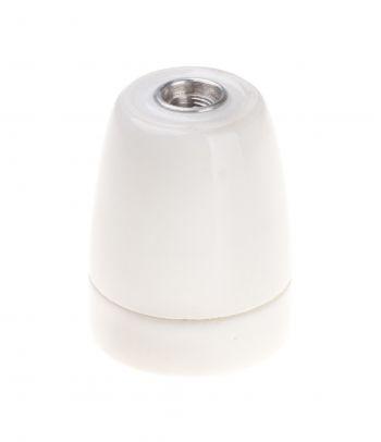 Baltas retro stiliaus porcelianinis lemputės lizdas - cokolis 99-5