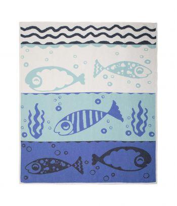 Marinistinis vasariškas paplūdimio pledas su jūriniais motyvais 'Aqua''