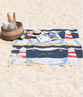Medvilninis vasariškas paplūdimio pledas su švyturiu