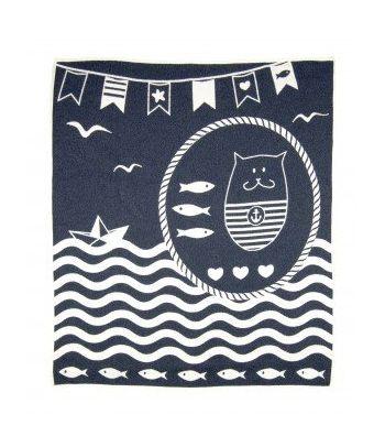 Mėlynas medvilninis pledas 'Marine cat'