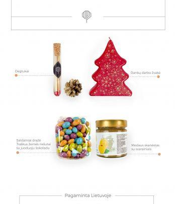 Dovanų rinkinys medaus skanėstas su svarainiais ir saldainių pakuotė