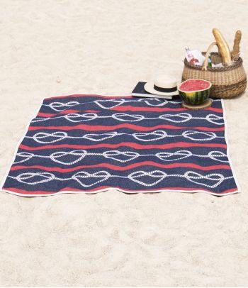 Medvilninis paplūdimio pledas 'Širdys-mazgai'