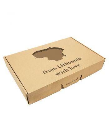Lininis pledas dovanų dėžutėje