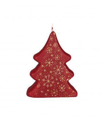 Raudona rankų darbo žvakė Kalėdinė eglutė