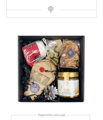 Dovanų rinkinys medaus skanėstas su šaltalankiais ir obuolių sūris