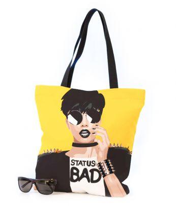 Medžiaginis pirkinių maišas 'Status: BAD'