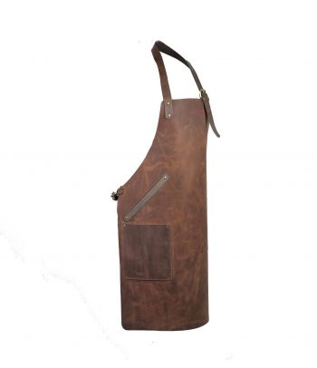 Natūralios odos BBQ prijuostė su kišenėmis