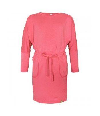 Stilinga rožinė suknelė ilgomis rankovėmis
