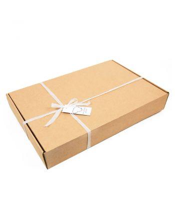 Pilkas natūralios vilnos pledas su dovanų dėžute