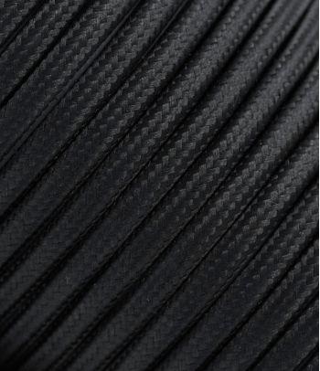 Juodas tekstilinis kabelis 2x0,75 mm²