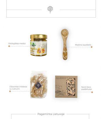 Dovanų rinkinys ekologiškas medus su šaukšteliu ir mediniai padėkliukai