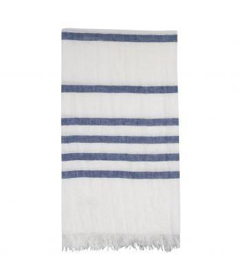 Lininis rankšluostis - paplūdimio pledas Island blue stripes