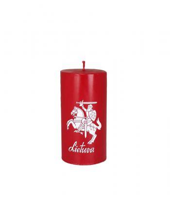 Raudona rankų darbo žvakė VYTIS