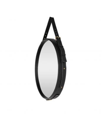 Apvalus pakabinamas odinis rankų darbo veidrodis