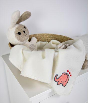Merinosų vilnos antklodė kūdikiui su drambliuku M6