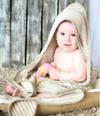Švelnus lininis vokelis - rankšluostis kūdikiui