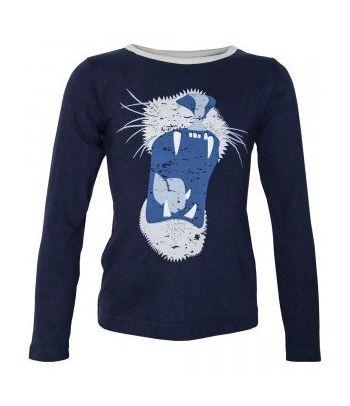 Mėlyni medvilniniai berniukiški marškinėliai