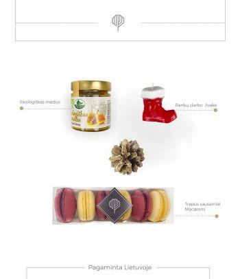 Dovanų rinkinys ekologiškas medus ir sausainiai Macarons