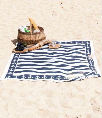 Medvilninis paplūdimio pledas su inkariukais