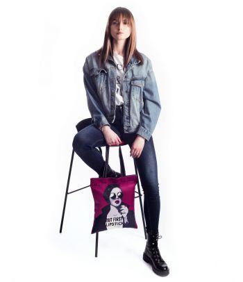 Tekstilinis pirkinių maišas 'But first lipstick'