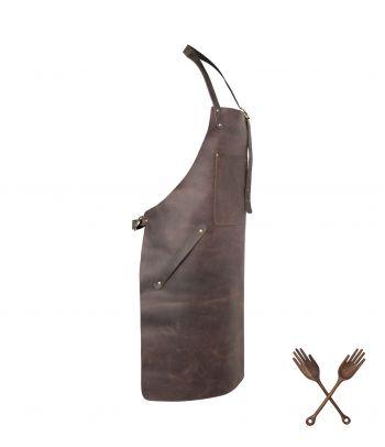 Natūralios odos griliaus prijuostė su kišene