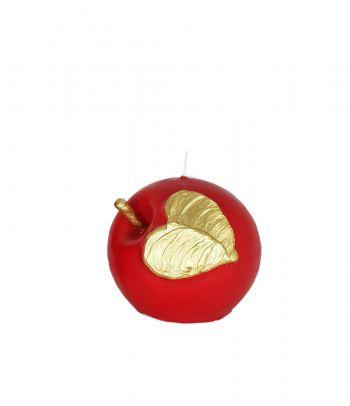 Raudona apvali rankų darbo žvakė Obuolys
