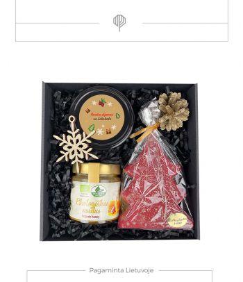 Dovanų rinkinys ekologiškas medus ir aviečių džemas su šokoladu