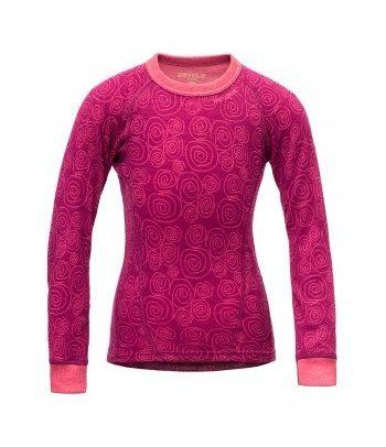 Merino vilnos marškinėliai mergaitėms Devold Plum