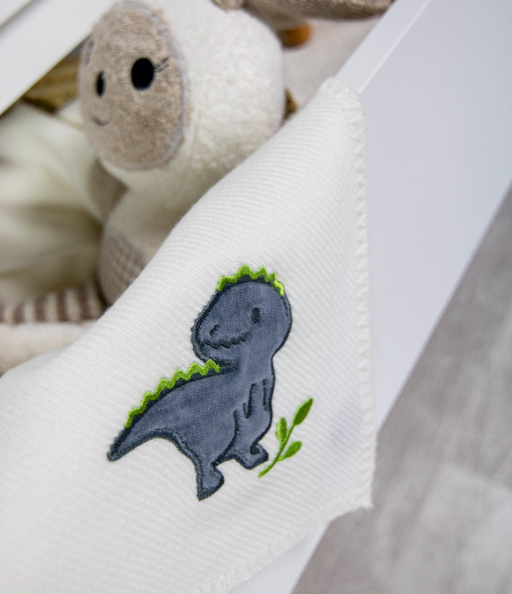 Merino vilnonis pledas kūdikiui su dinozauru M8 2
